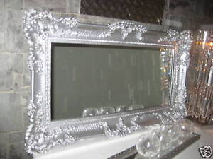 wandspiegel spiegel barock gro er silber hochglanz 97x57 antik bilderrahmen ebay