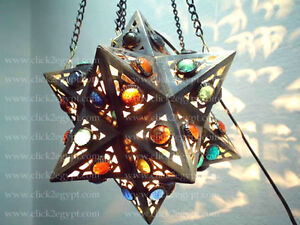 Jeweled Moroccan Art Handmade Hanging Star Lamp / Lantern