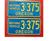 Oregon License Plate Pair