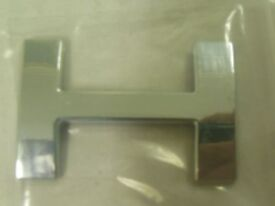 Letter H 3D Alphabet Badge Silver Self Adhesive