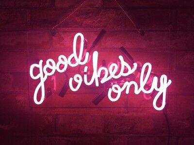 """""""good vibes only Room Game Neon Sign Gift Artwork Custom Open Beer Handmad Light"""