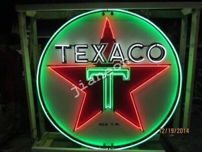 "24""X24"" TEXACO GAS GASOLINE MOTOR OIL PUMP REAL GLASS NEON SIGN Beer Bar LIGHT"