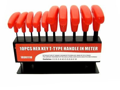 10 pc T Handle Type Hex Key Wrench Set Metric Sizes Allen Wrench MM set