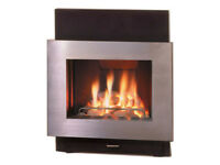 CONTEMPORARY INSET GAS FIRE IN BRUSHED STEEL AND POLISHED BLACK STONE HEARTH