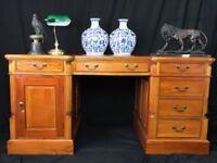 large double sided pedestal Georgian style mahogany partners office desk