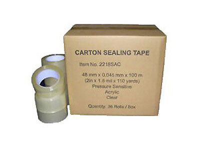 36 Rolls Clear Carton Sealing Packing Shipping Tape 2 1.8 Mils 110 Yards 330