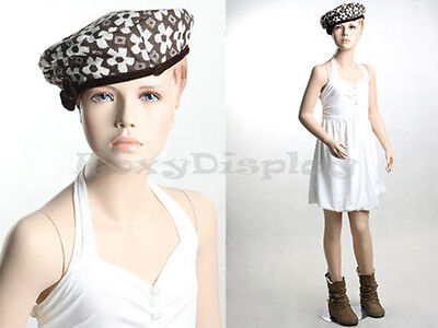 Child Fiberglass With Molded Hair Mannequin Dress Form Display Mz-kd8