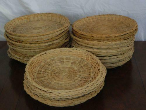 wicker rattan paper plate holders ebay. Black Bedroom Furniture Sets. Home Design Ideas