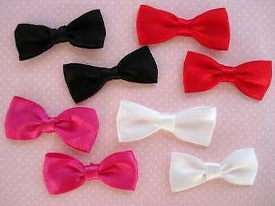 40 Pre-Made Satin Ribbon Bow Tie Applique/trim/Hot Pink/Red/Black/White F60-Pick White Satin Bow Tie
