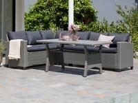 Rattan garden furniture corner sofa and table set