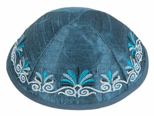 Jewish Embroidered Blue Kippah - Made in Israel - Raw Silk