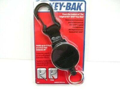 Key-bak Black 6c Mid Size Mid6 Self Retractable Cord Key Ring Reel W Carabiner