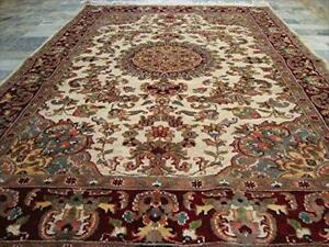 Sarafian Floral Classic Designed Rectangle Area Rug Hand Knotted Wool Silk Carpet (6 X 4)'