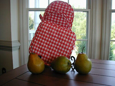 Red Gingham Potholder + Puppet Oven Mitt, fabric Gingham Oven Mitt