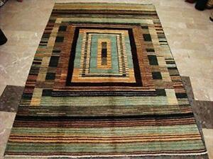 Modern Afghan Gabbeh Mahal Vegetable Dyed Wool Carpet Hand Knotted Area Rug (8 X 5)'