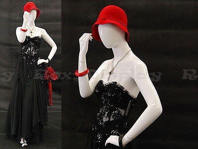 Female Fiberglass Glossy White Mannequin Egg Head Display Dress Form C8-md