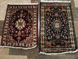 Red & Blue Flower Exclusive Designed Hand Knotted Area Rug [2 Pieces] Wool Silk Carpet (3 x 2)'