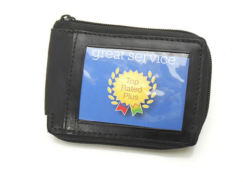 Men's Quality Leather Zip Around Wallet with External ID