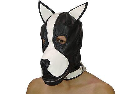 Petplay Hundemaske mit Knebel schwarz weiß Hunde Maske Hund Ledermaske (Maske Hund)