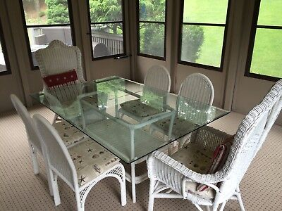 Indoor Wicker Dining Set  (White) Glass Table, 6 Chairs, 2 Rockers, 1 End Table