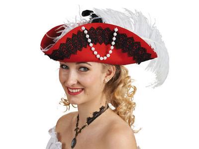 Damen Piratenhut Maria Wollfilz Dreispitz rot Damenhut Federschmuck