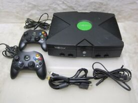 Original XBOX C01713 Black Video Game Console W/ Two Controllers Bundles