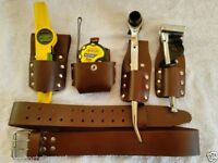 SCAFFOLDING LEATHER TOOL SET BELT BLACK AND BROWN LEATHER