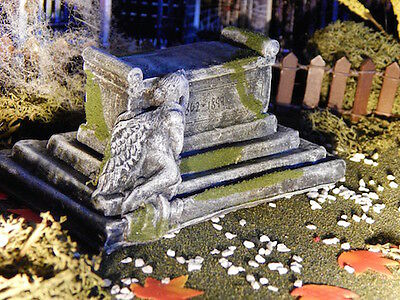 Halloween TOMBSTONE ~ Grieving ANGEL on CRYPT ~ Dept 56 Lemax GRAVE Headstone