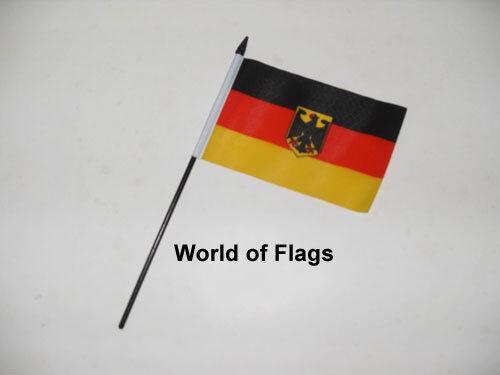"GERMAN EAGLE SMALL HAND WAVING FLAG 6"" x 4"" Germany Crafts Table Desk Display"