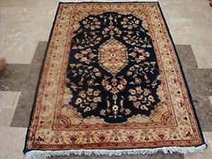 Exotic Royal Blue Floral Medallion Hand Knotted Rug Wool Silk Carpet (6 X 4)'