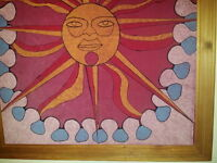 SUN PAINTING . . . fr 1970 ORIGINAL w WOOD FRAME