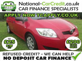 Toyota Auris 1.33 VVT-i TR 5dr Good / Bad Credit Car Finance (red) 2009