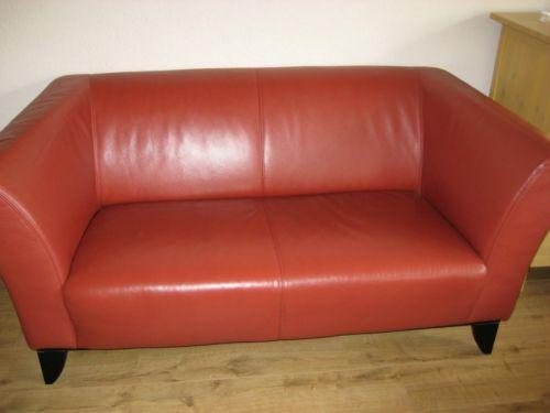 ledersofa rot sofas sessel ebay. Black Bedroom Furniture Sets. Home Design Ideas