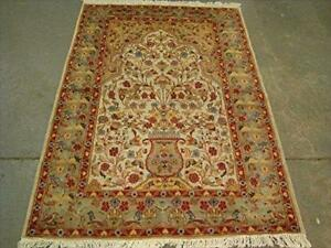 Exclusive Tree of Life Birds All Over Floral Designed Area Rugs Silk Wool Hand Knotted Carpet (6 x 4)'