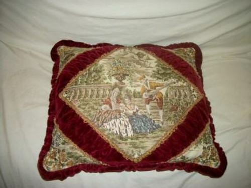 BELGIUM VELVET TAPESTRY ROMANTIC COUPLE FEATHER PILLOW METALLIC LACE RUCHED RARE