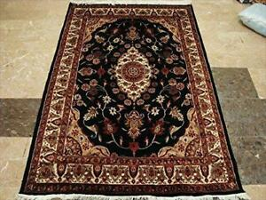 Mid Night Black Ivory Touch Flowers Rare Area Rug Hand Knotted Wool Silk Carpet (6 X 4)'