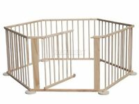 Wooden foldable childrens playpen