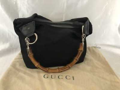 Gucci Black Nylon x Bamboo Small Size Shoulder Bag Made in Italy Authentic