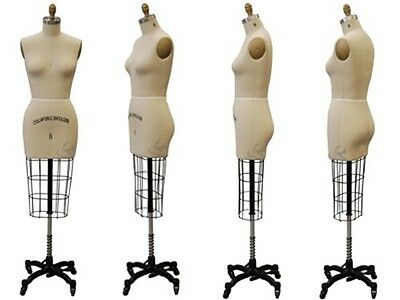Collapsible Shoulder Female Professional Pro Working Dress Form Half Size 8 Whip