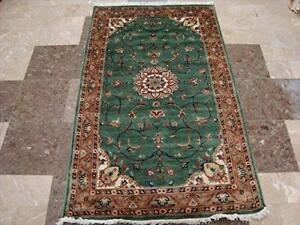 Love Floral Medallion Exclusive Area Rug Hand Knotted Wool Silk Carpet (5 x 3)'