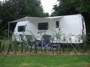 CARAVAN SUN CANOPY IN BURGUNDY 3 METRES X 150CM WITH 3 UPRIGHT POLES