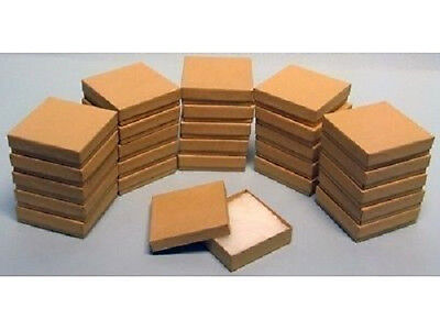 200 Kraft Cotton Filled Jewelry Craft Bracelet Earring Chain Gift Boxes 3 12