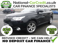 Mitsubishi Outlander 2.2 DI-D 4WD GX4 Good / Bad Credit Car Finance (black) 2014