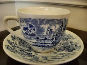 Wood & Sons Blue Teacups and Saucers England Coutry Scene