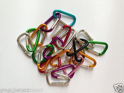 60pcs Wholesale Lot 4CM D Shape Aluminum Carabiner Hooks Hiking Camp Keychain