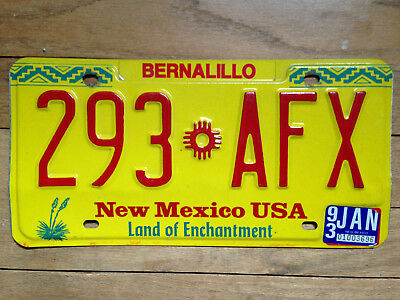 1993 New Mexico LICENSE PLATE 293 AFX Land of Enchantment Bernalillo