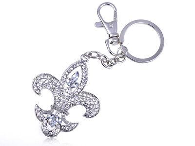 Silver Tone Ice Bling  Rhinestone Royal Medieval Fleur De Lis Keychain Clr