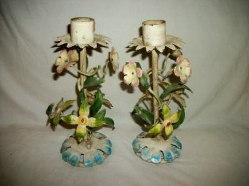 ITALIAN TOLE FLORAL CANDLE HOLDERS VINTAGE 1930
