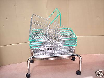 5 Wire Shopping Baskets Green Handles & Mobile Stand