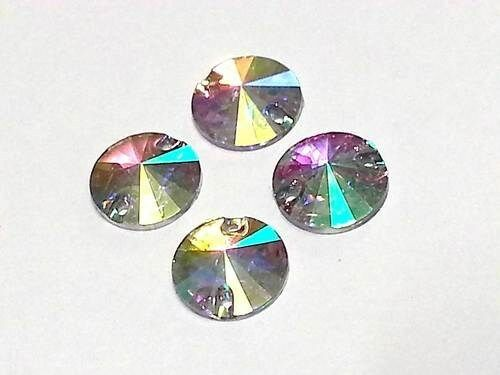 CraftbuddyUS 50pcs 12mm AB Clear Round Pointed Resin Sew On Rhinestone  Gems DIY